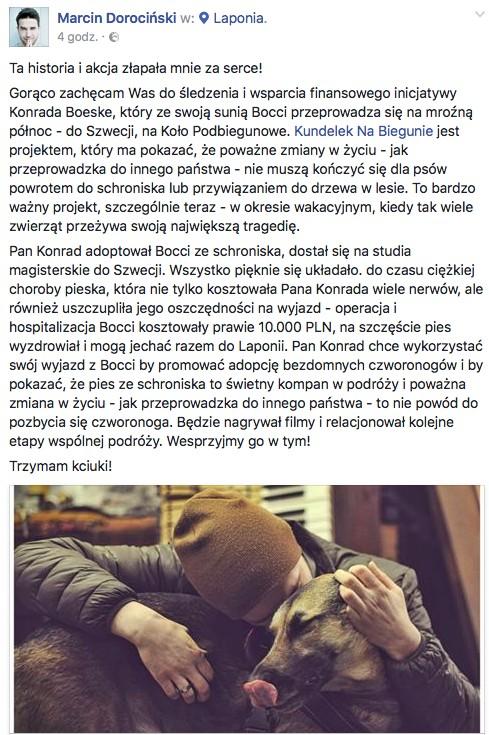 Marcin Dorociński wspiera Kundelka Na Biegunie