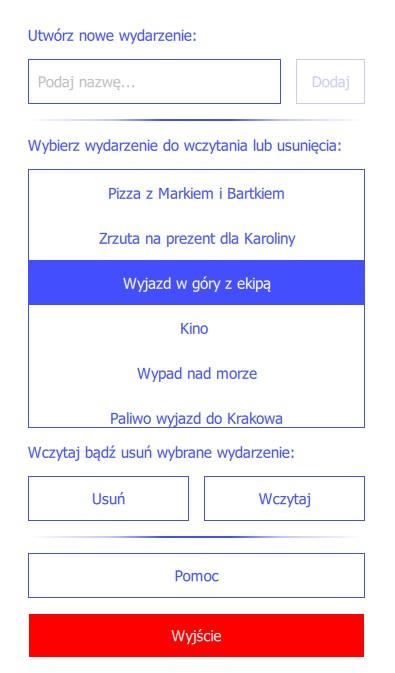 Projekt Aplikacja mobilna dzielRachunek!